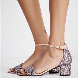 Free People Glitter Marigold Block Sandal Heel